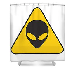 Alien Grey Graphic Shower Curtain by Pixel Chimp
