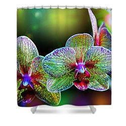 Alien Orchids Shower Curtain by Bill Tiepelman