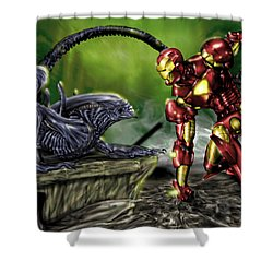 Alien Vs Iron Man Shower Curtain by Pete Tapang