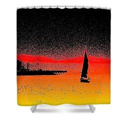 Alki Sail  Shower Curtain by Tim Allen