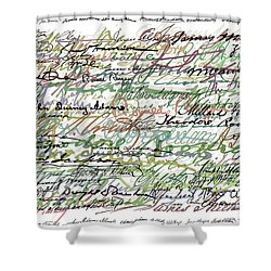 All The Presidents Signatures Green Sepia Shower Curtain by Tony Rubino