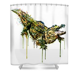 Alligator Watercolor Painting Shower Curtain by Marian Voicu