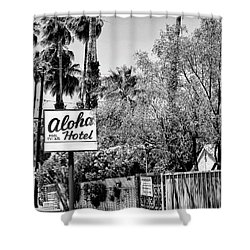 Aloha Hotel Bw Palm Springs Shower Curtain by William Dey