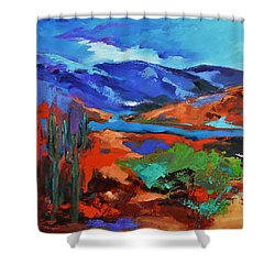 Along The Trail - Arizona Shower Curtain by Elise Palmigiani
