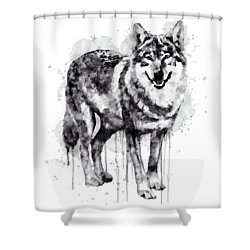 Alpha Wolf Black And White Shower Curtain by Marian Voicu