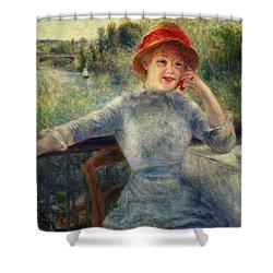 Alphonsine Fournaise Shower Curtain by Pierre Auguste Renoir