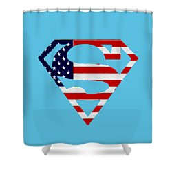 American Flag Superman Shield Shower Curtain by Bill Cannon