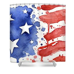 American Flag Watercolor Painting Shower Curtain by Olga Shvartsur