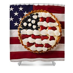 American Pie On American Flag  Shower Curtain by Garry Gay