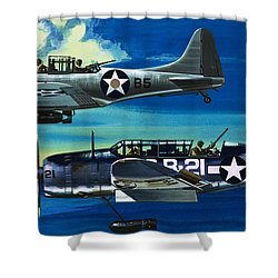 American Ww2 Planes Douglas Sbd1 Dauntless And Curtiss Sb2c1 Helldiver Shower Curtain by Wilf Hardy