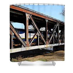 Amtrak California Crossing The Old Sacramento Southern Pacific Train Bridge . 7d11410 Shower Curtain by Wingsdomain Art and Photography