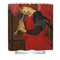 An Angel Playing A Flageolet Shower Curtain by Sir Edward Burne-Jones
