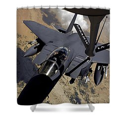 An F-15 Strike Eagle Prepares Shower Curtain by Stocktrek Images