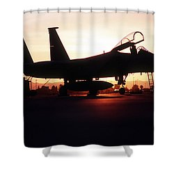 An F-15c Eagle Aircraft Silhouetted Shower Curtain by Stocktrek Images