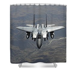 An F-15e Strike Eagle Flies Watch Shower Curtain by Stocktrek Images