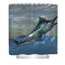 An Iridescent Blue Marlin Bursts Shower Curtain by Corey Ford