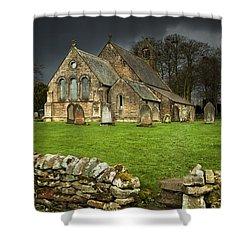 An Old Church Under A Dark Sky Shower Curtain by John Short