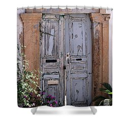 Ancient Garden Doors In Greece Shower Curtain by Sabrina L Ryan