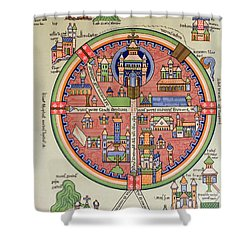 Ancient Map Of Jerusalem And Palestine Shower Curtain by French School