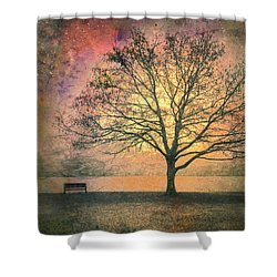 And The Morning Is Perfect In All Her Measured Wrinkles Shower Curtain by Tara Turner