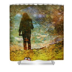 And Then He Turned Her World Upside Down Shower Curtain by Tara Turner