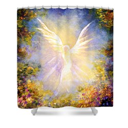 Angel Descending Shower Curtain by Marina Petro