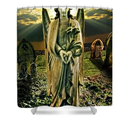 Angelic Light In Color Shower Curtain by Meirion Matthias