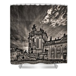 Angels And Demons Shower Curtain by Evelina Kremsdorf