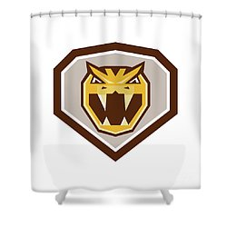 Angry Horned Viper Crest Retro Shower Curtain by Aloysius Patrimonio