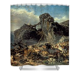 Animals Leaving The Ark, Mount Ararat  Shower Curtain by Filippo Palizzi