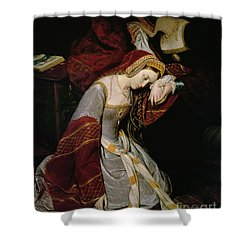 Anne Boleyn In The Tower Shower Curtain by Edouard Cibot