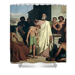 Annointing Of David By Saul Shower Curtain by Felix-Joseph Barrias