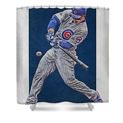 Anthony Rizzo Chicago Cubs Art 1 Shower Curtain by Joe Hamilton