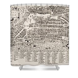 Antique Map Of Naples Shower Curtain by Italian School