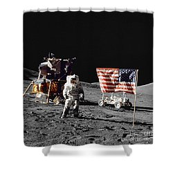 Apollo 17 Astronaut Stands Shower Curtain by Stocktrek Images