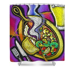Appetizing Dinner Shower Curtain by Leon Zernitsky