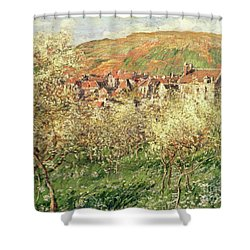 Apple Trees In Blossom Shower Curtain by Claude Monet