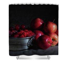 Apples And Berries Panoramic Shower Curtain by Tom Mc Nemar