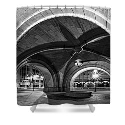 Arched In Black And White Shower Curtain by CJ Schmit