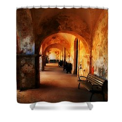 Arched Spanish Hall Shower Curtain by Perry Webster