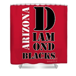 Arizona Diamondbacks Baseball Typography Red Shower Curtain by Pablo Franchi