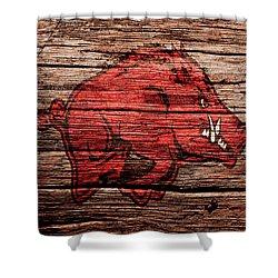 Arkansas Razorbacks Shower Curtain by Brian Reaves