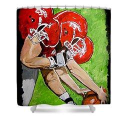 Arkansas Razorbacks Football Shower Curtain by Carol Blackhurst