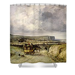 Arrival Of A Stagecoach At Treport Shower Curtain by Jules Achille Noel