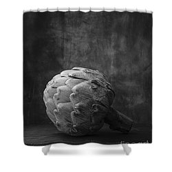 Artichoke Black And White Still Life Shower Curtain by Edward Fielding