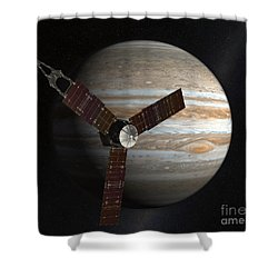 Artists Concept Of The Juno Spacecraft Shower Curtain by Stocktrek Images