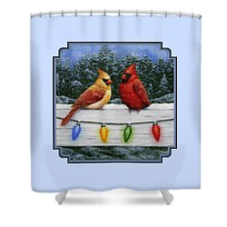 Bird Painting - Christmas Cardinals Shower Curtain by Crista Forest