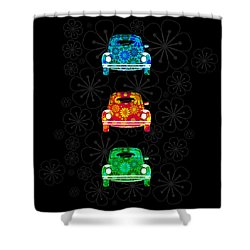 Vw Flower Power Shower Curtain by Mark Rogan