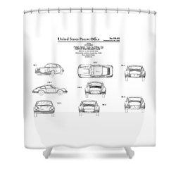 Porsche 911 Patent Shower Curtain by Mark Rogan