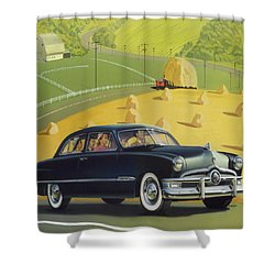 1950 Custom Ford Rustic Rural Country Farm Scene Americana Antique Car Watercolor Painting Shower Curtain by Walt Curlee